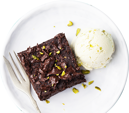 Brownie chocolat pistache glace LA PATELIERE