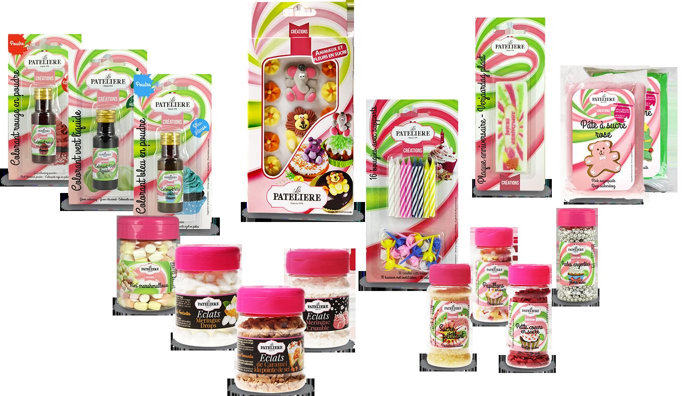 Gamme Création LA PATELIERE aides à la pâtisseries décors et sucres