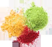Colorants poudre vert jaune rouge LA PATELIERE