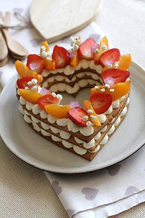 Gâteau heart cake abricot fraise fête des mères recette LA PATELIERE