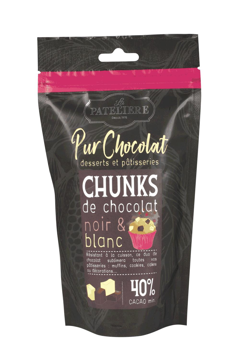 chunks chocolat noir et blanc à pâtisser LA PATELIERE