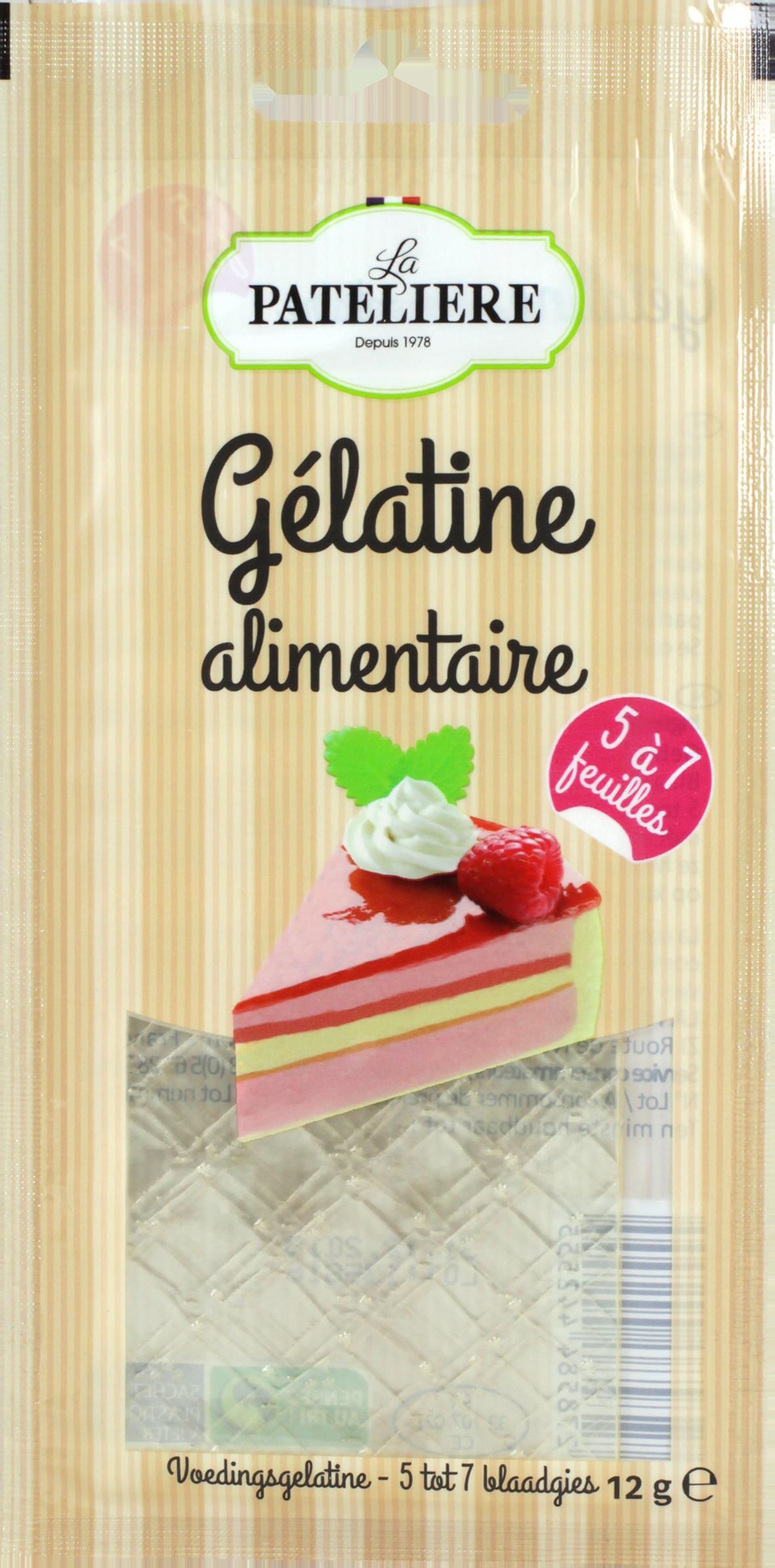 gelatine alimentaire feuille LA PATELIERE
