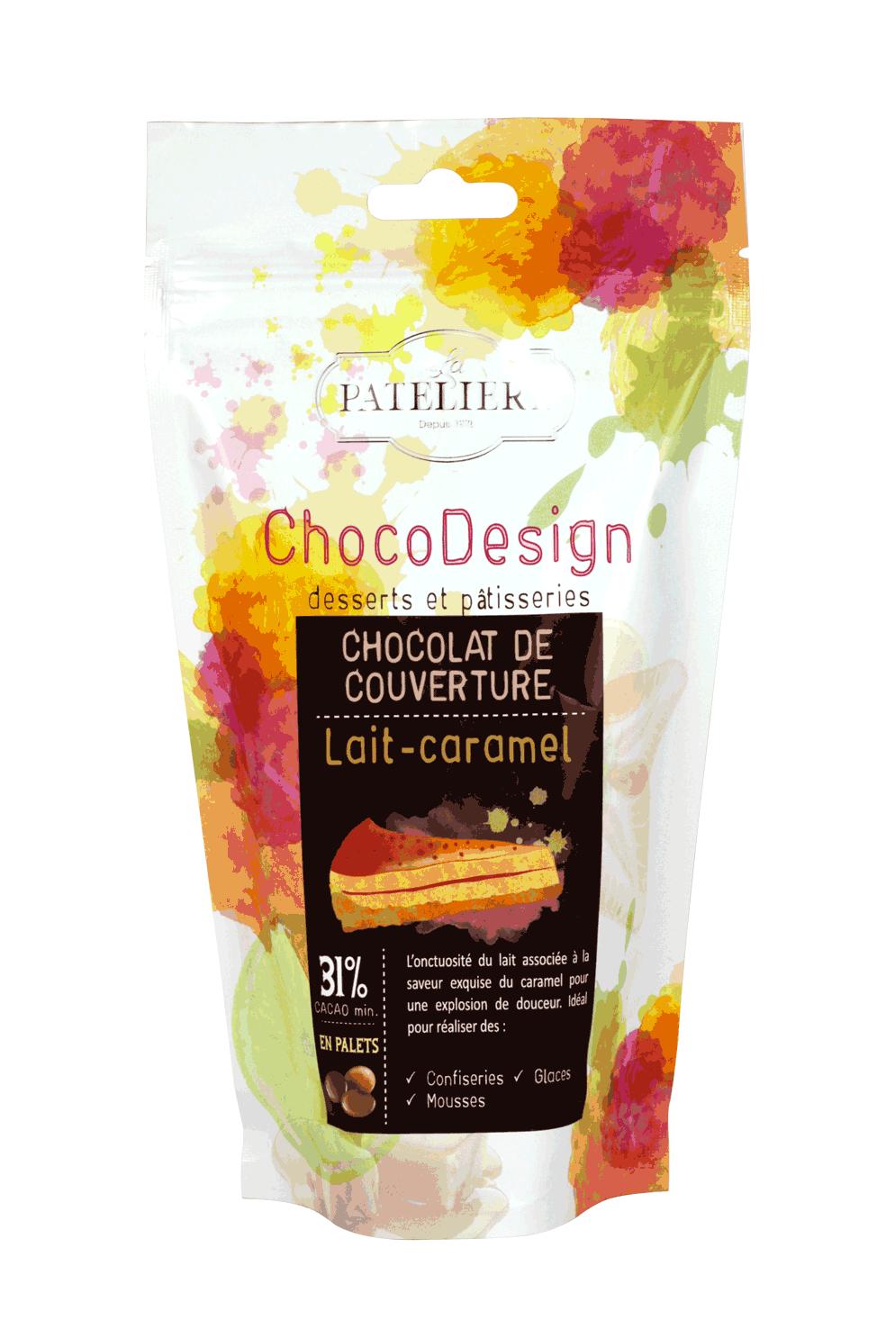 palets chocolat couverture lait caramel à pâtisser chocodesign LA PATELIERE