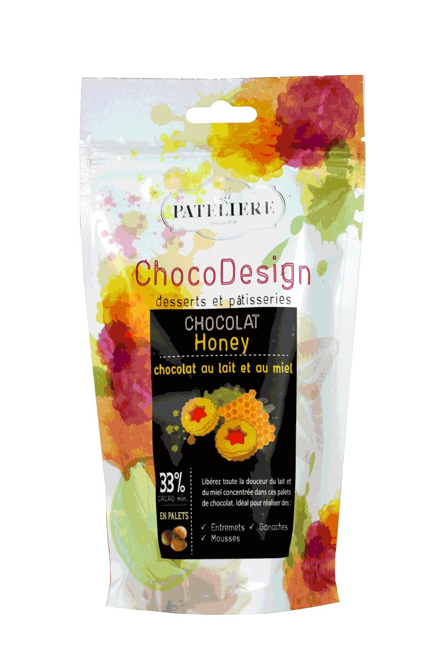 palets chocolat de couverture à pâtisser au lait et miel chocodesign LA PATELIERE