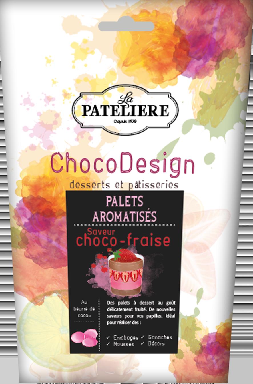 palets chocolat à pâtisser fraise chocodesign LA PATELIERE