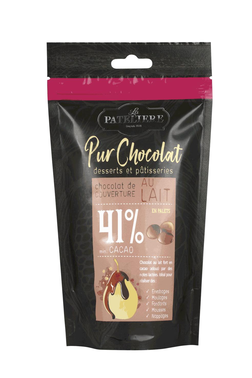 palets chocolat couverture à pâtisser lait 41% LA PATELIERE