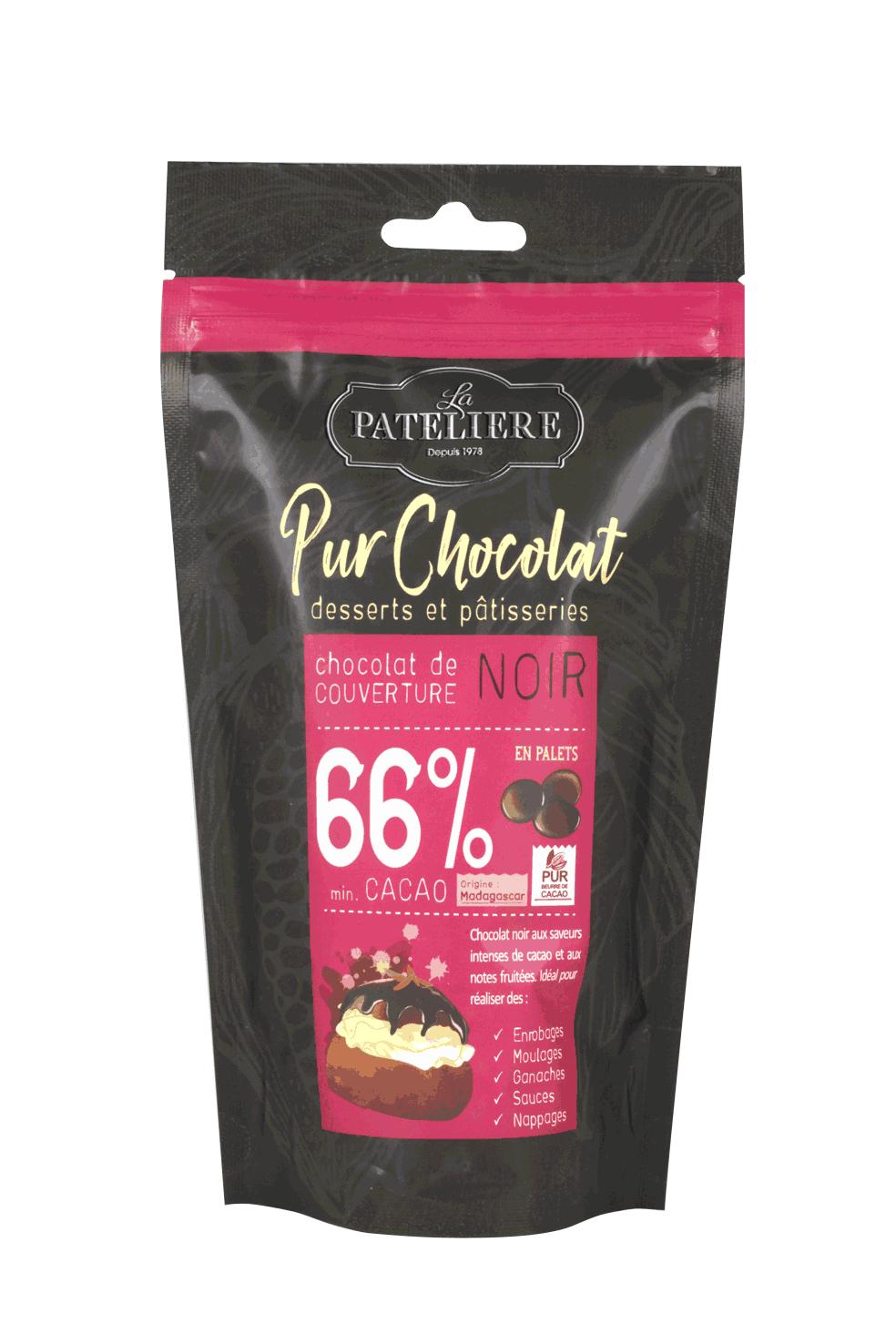 palets couverture 66 chocolat noir à pâtisser LA PATELIERE