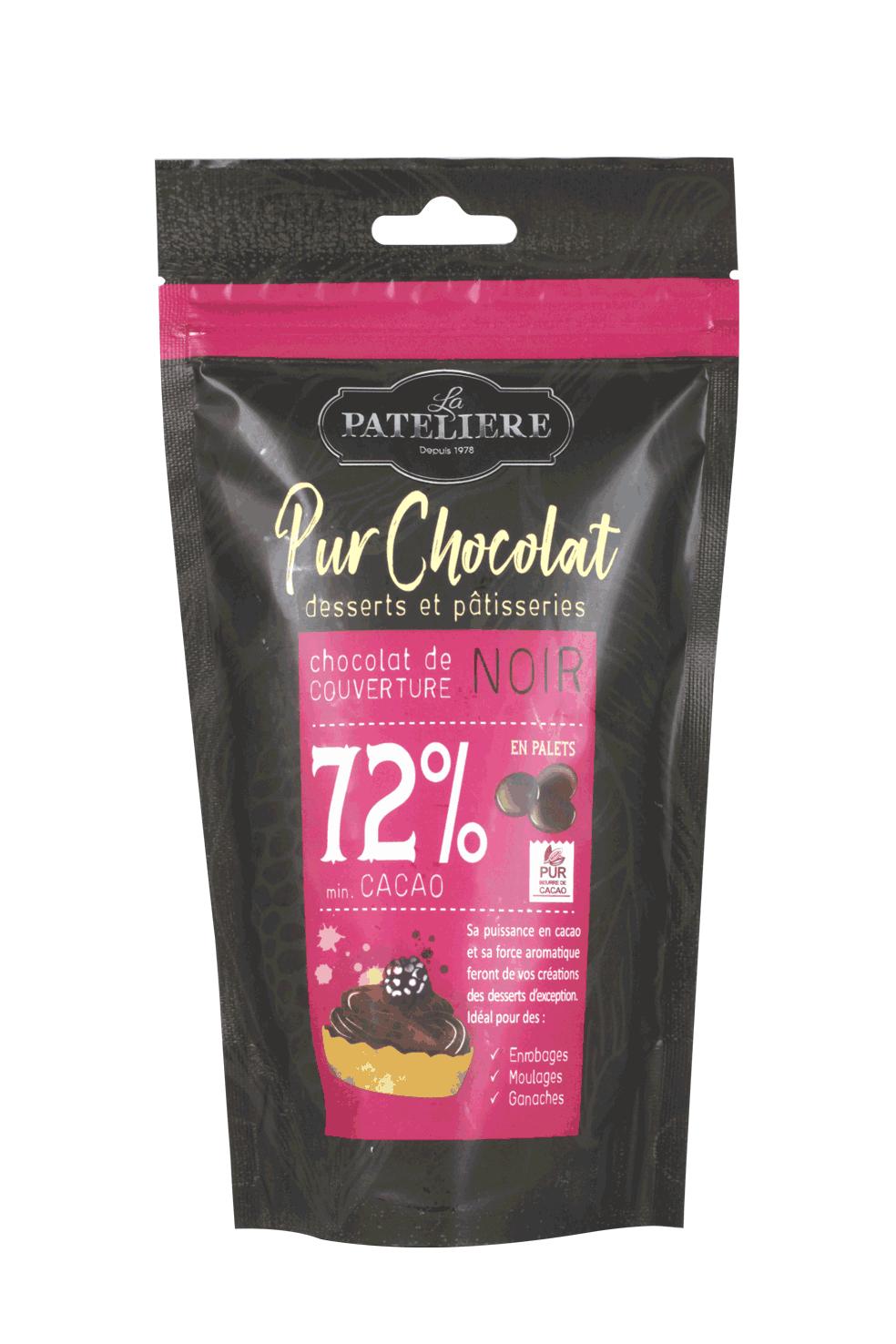 palets chocolat noir 72 couverture à pâtisser LA PATELIERE