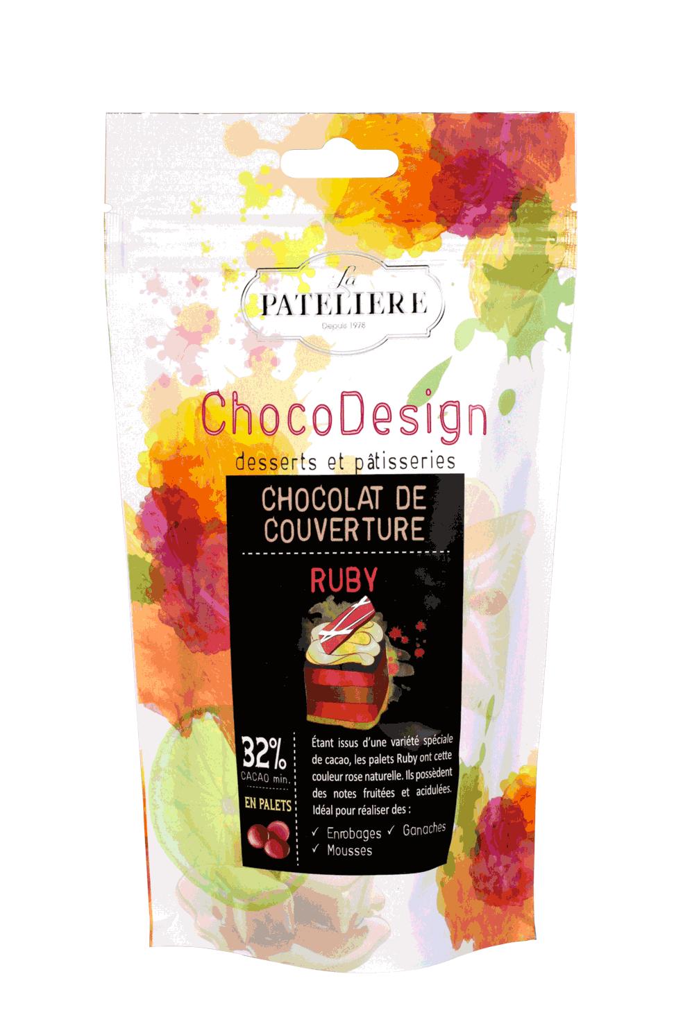 palets chocolat de couverture à pâtisser ruby chocodesign LA PATELIERE