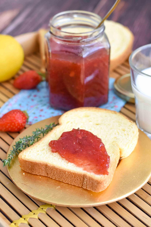 gelée fraises citron thym pectine confiture elise dit à table LA PATELIERE